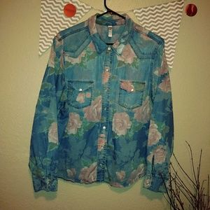 Xl retro style denim and floral womens  top